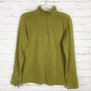 Orvis Quarter Zip Cotton Pullover Green Sweatshirt